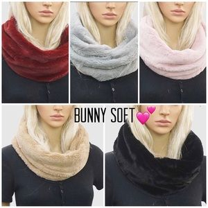 Faux Fur Bunny Soft Infinity Circle Scarves, NWT